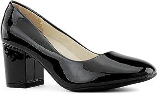 RF ROOM OF FASHION Women's True Wide Width Classic Chunky Heel Dress Pumps