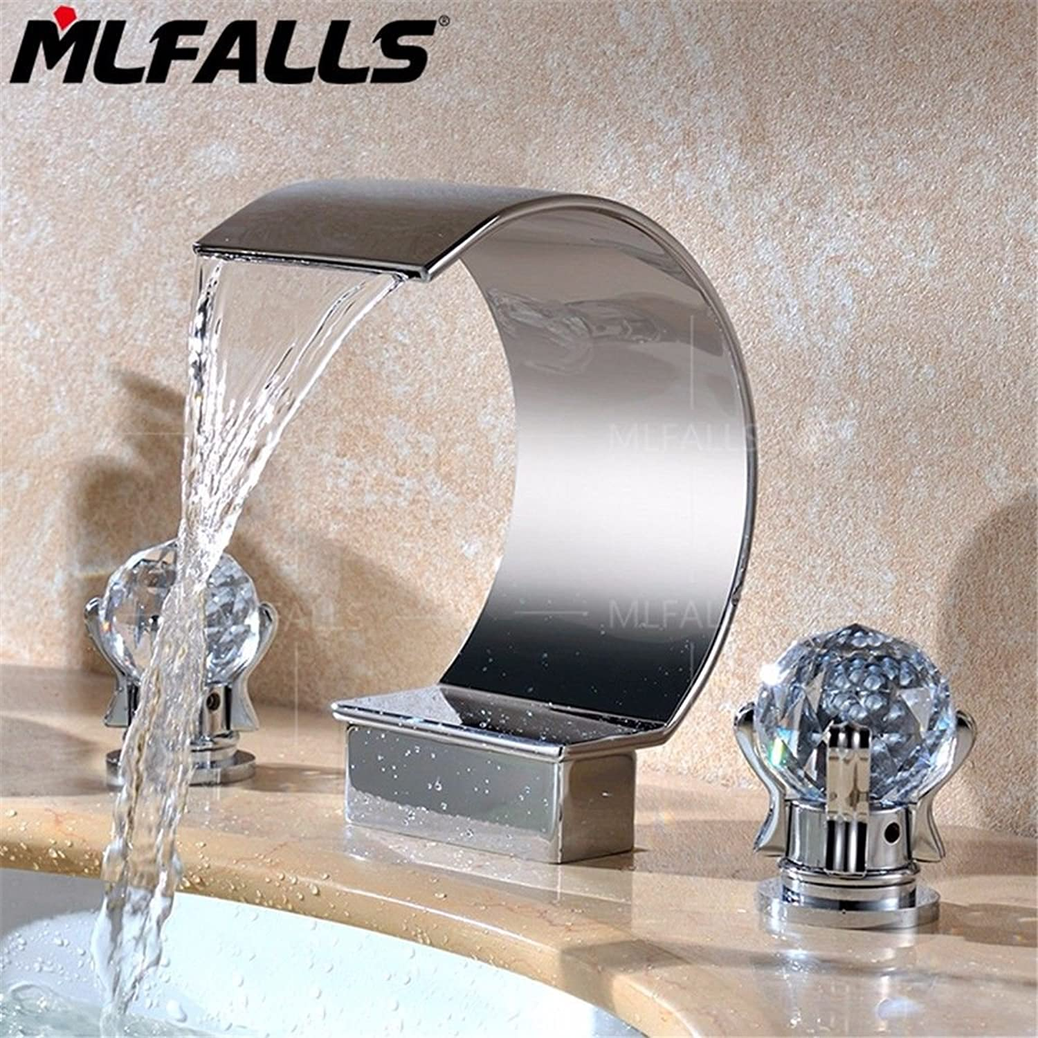 Lalaky Taps Faucet Kitchen Mixer Sink Waterfall Bathroom Mixer Basin Mixer Tap for Kitchen Bathroom and Washroom Silver Brass Chrome Crystal Double Handle Three Holes