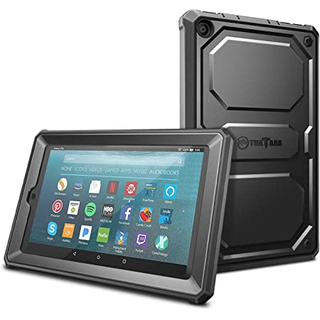 Amazon Com Fintie Shockproof Case For All New Amazon Fire 7 Tablet 9th Generation 2019 Release Rugged Unibody Hybrid Full Protective Bumper Cover With Built In Screen Protector Black Computers Accessories
