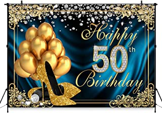 COMOPHOTO 50th Birthday Photography Backdrop 8x6ft Adult Golden Fiftieth Diamond High Heels Balloon Party Banner Decorations Printing Photo Booth Background for Pictures