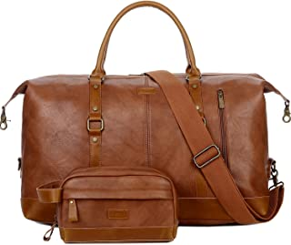 BAOSHA Leather Travel Duffel Tote Bag Overnight Weekender Bag Oversized for Men and Women HB-14 (Brown With Toiletry bag)