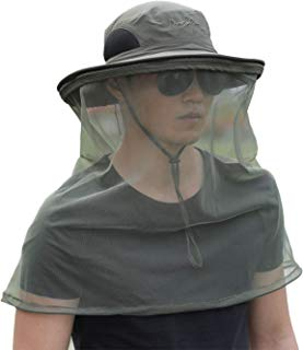 Aigemi Mosquito Head Net Hat, Safari Hat Sun Hat Bucket Hat with Mesh Protection from Insect Bug Bee Gnats Boonie Hat Cap (Dark Grey)