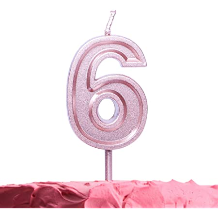 8cm Rose Gold Glitter Number 6 Candle Girls 6th Birthday Party Cake Decoration