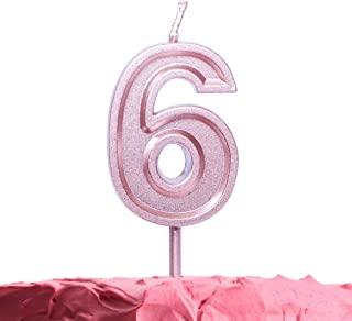 Get Fresh Number 6 Birthday Candle – Rose Gold Number Six Candle on Stick – Elegant Pink Number Candles for Birthday Wedding Anniversary – Perfect Baby's 6th Birthday Cake Candle – Pink 6 Candle