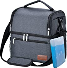 Insulated Lunch Bag, STNTUS Leakproof Cooler Lunch Box with Ice Pack and Strap, Dual..