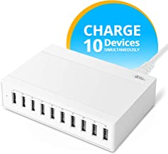 AVLT-Power 60Watt 10-Port USB Wall Charger, Portable USB Charger Multi Port for Travel, Office & Home. Compatible with iPhone, iPad, Android Phone&Tablet[White]