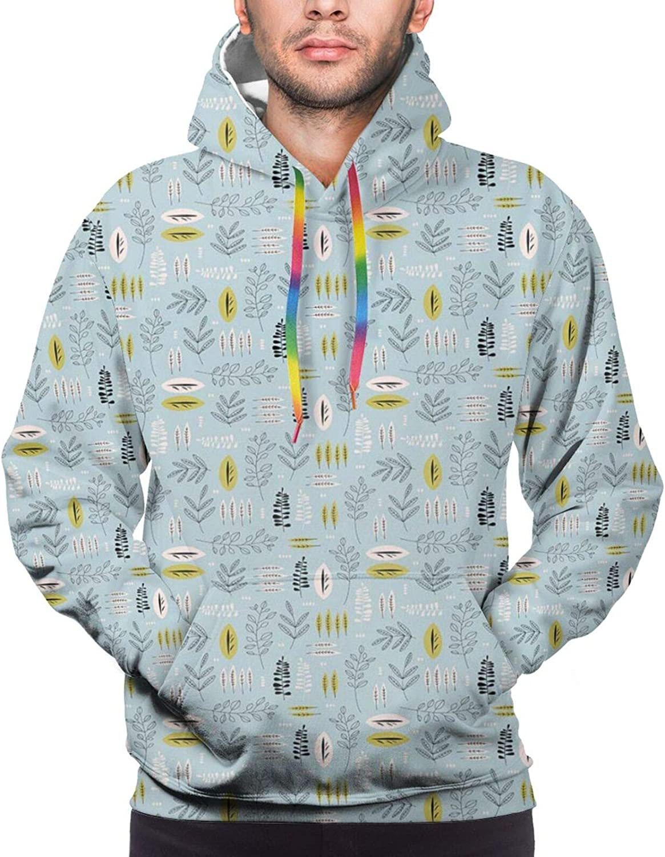 TENJONE Men's Hoodies Sweatshirts,Continuous Pattern of Surreal Design Flowers