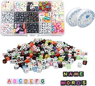 SIMUR DIY Bracelet Letter Beads, Acrylic Alphabet Letter Mixed Cube Beads for Jewelry Making, Bracelets, Necklaces, Key Chains and Kids Jewelry Making Kit with 2Pcs White Elastic Line
