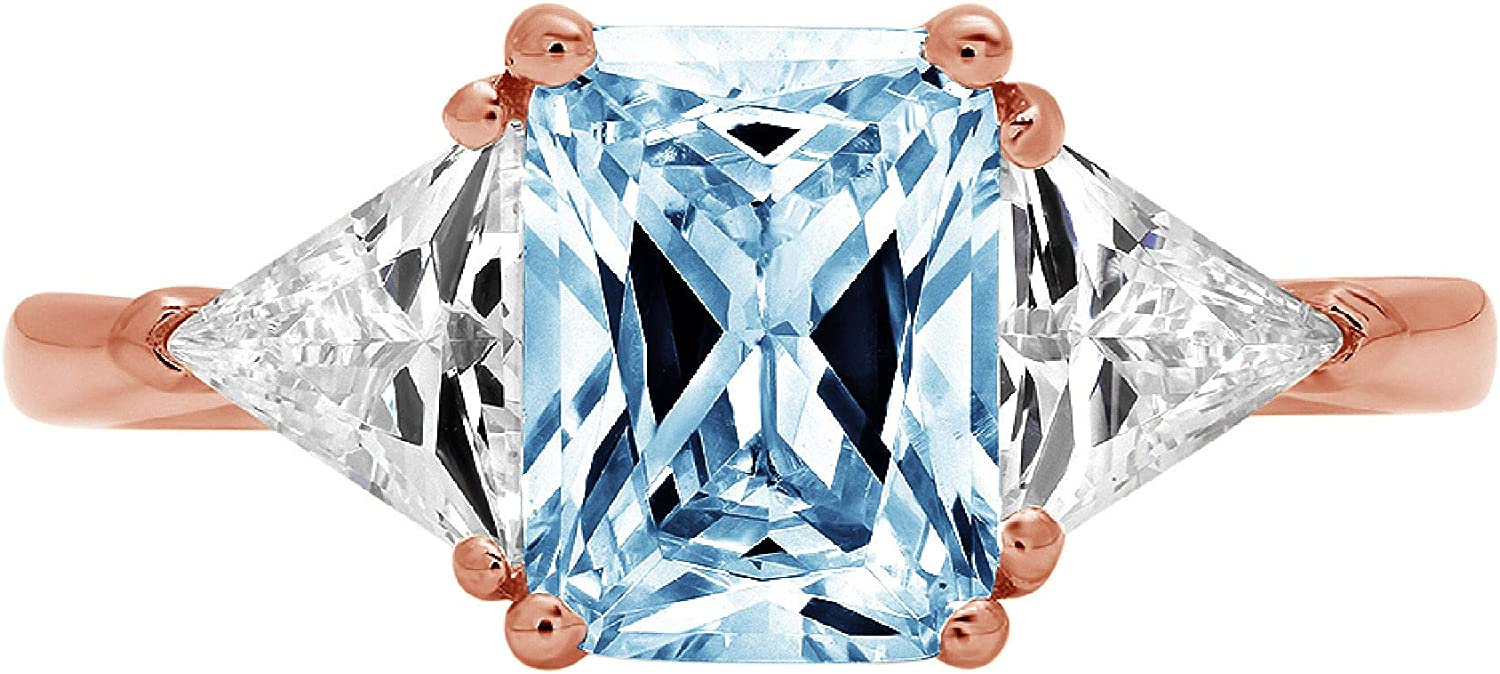 3.0 ct Emerald Trillion cut 3 stone Solitaire with Accent Natural Swiss Blue Topaz Gemstone Ideal VVS1 Engagement Promise Statement Anniversary Bridal Wedding Ring 14k Rose Gold