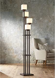 Light Tree Mission Torchiere Floor Lamp 4-Light Bronze Iron Square-Sided White Glass Shades for Living Room Bedroom - Franklin Iron Works