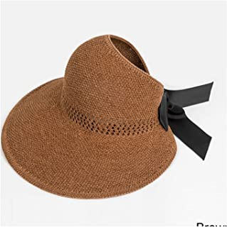 Fashion Bow Sun Hats Women Ponytail Sun Cap Ribbon Knitted Hat for Women UV Protction Brown