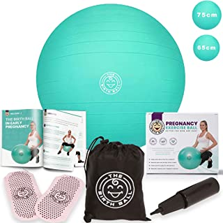 The Birth Ball - Birthing Ball for Pregnancy & Labor - 18 Page Pregnancy Ball Exercises Guide by Trimester - Non Slip Socks - How to Dilate, Induce, Reposition Baby for Mom