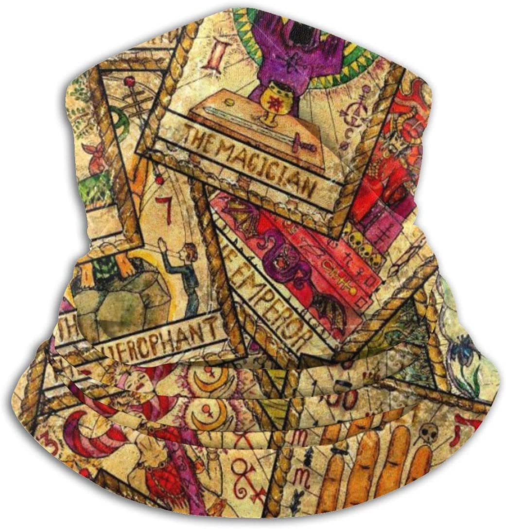 CLERO& Scarf Fleece Neck Warmer Colorful Tarot Cards Vintage Windproof Winter Neck Gaiter Cold Weather Face Mask for Men Women