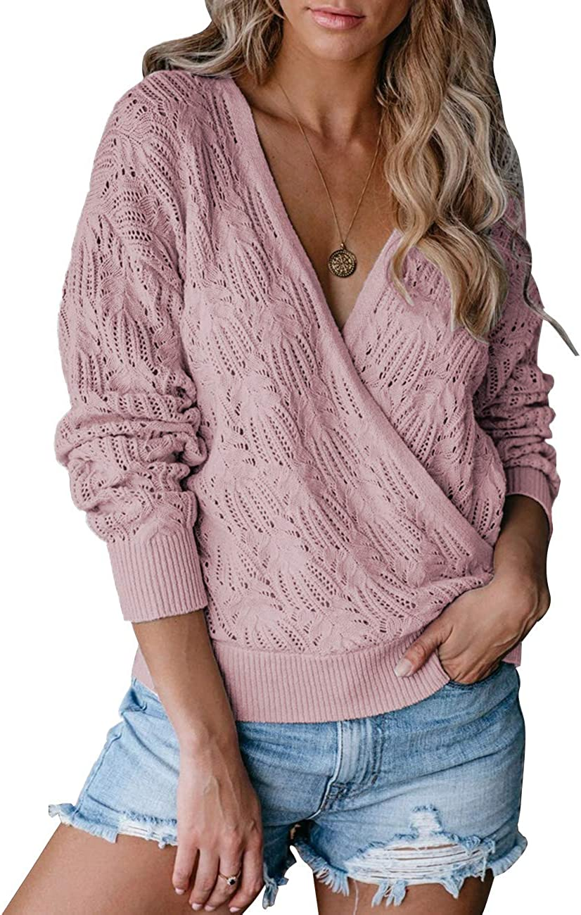 SYZRI Women's Wrap Deep V Neck Knit Sweater Top Floral Crochet Long Sleeve Pullover Jumper