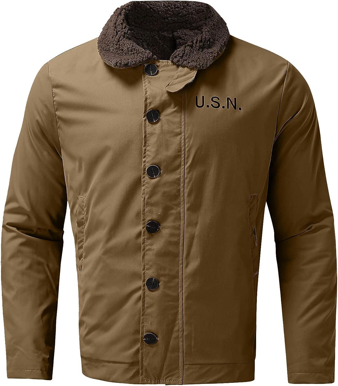 RIZI Mens Blends Wool jacket Button Down, Men's Casual Single Breasted Winter Fleece Collar Cotton Sherpa Lined Trucker Coat