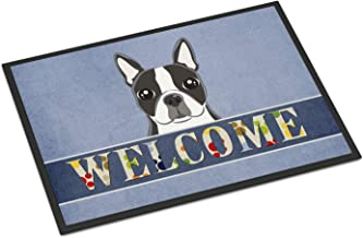 Caroline's Treasures BB5095MAT Blue Flowers Afghan Hound Indoor or Outdoor Mat 18x27 doormats, Multicolor, Welcome, 24 x 36