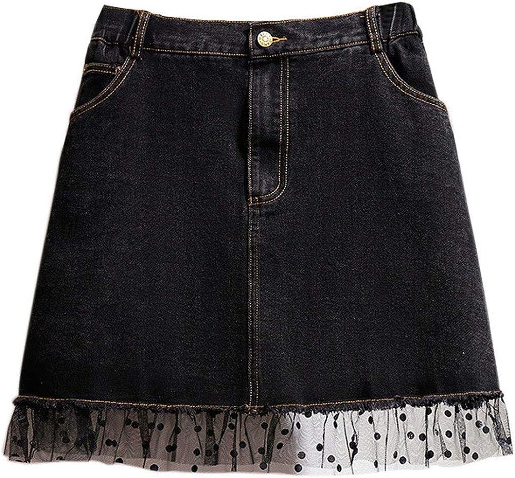 CHARTOU Women's Oversized Lovely Elastic Waist Mesh Tulle Denim Mini A-Line Skirt
