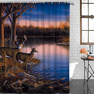 Durable Polyester Fabric Shower Curtains for Bathroom Stall 36'' x 72'' Autumn Nature Wildlife Animal Deers Hunting Waterproof Bathtub Curtains Set with Hooks