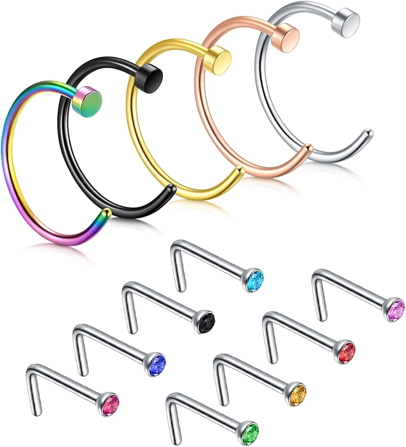 JFORYOU Nose Rings Nose Studs Nose Screw 22G 316L Surgical Steel