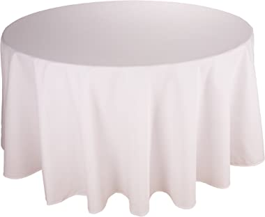 Riegel Permalux Cottonblend 90-Inch Round Tablecloth, White