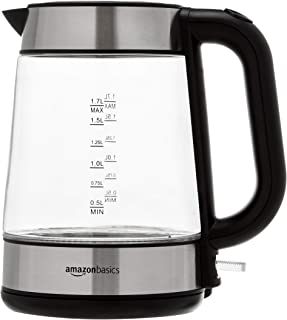 Amazon Basics Bouilloire électrique en verre, 1,7 litres, 2200W