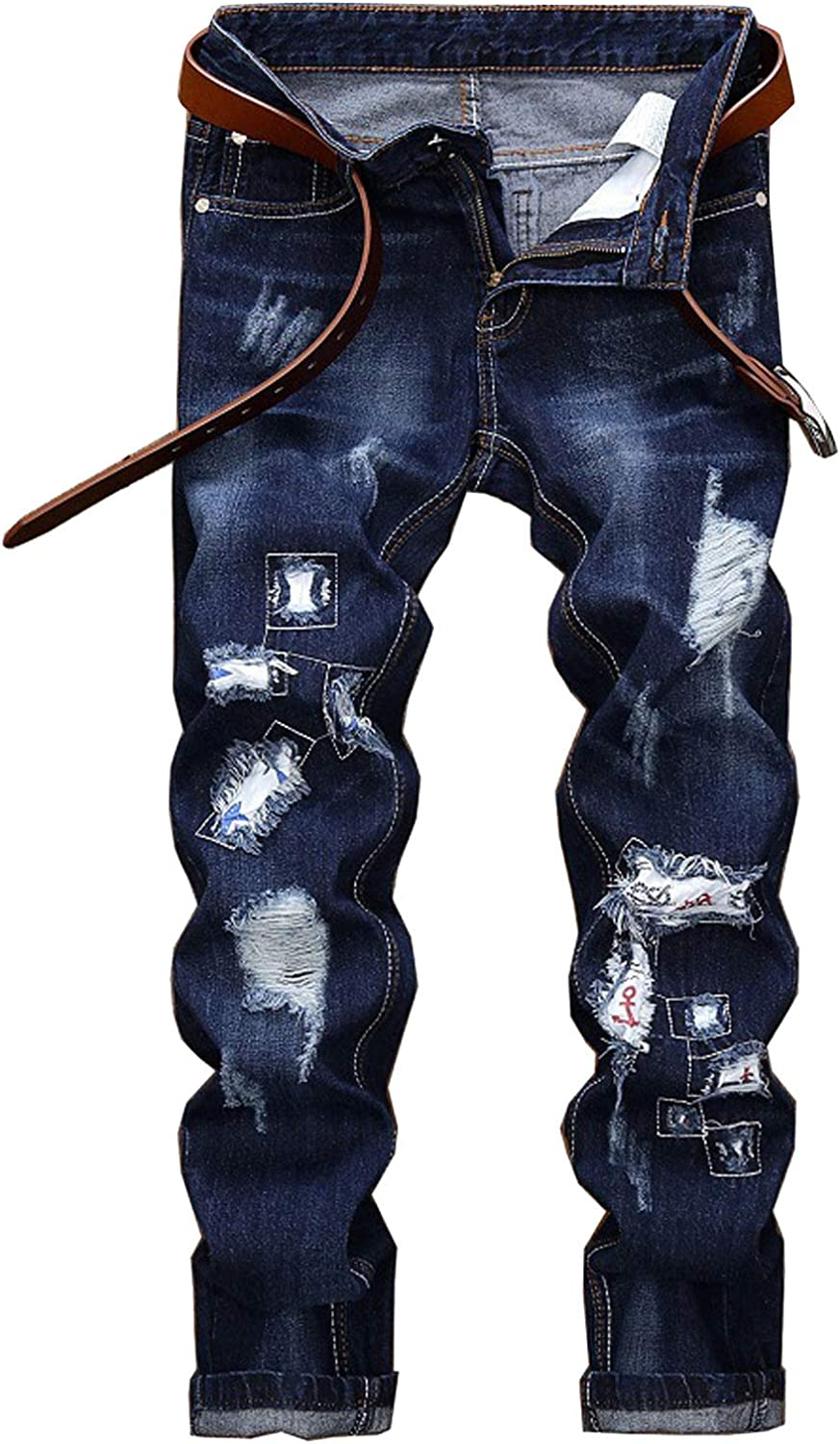 AIEOE Ripped Jeans Men Hiphop Straight Demin Jeans Skinny Stretch Washed Solid Plus Size 40 Blue