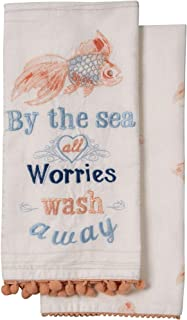 Deborah Connolly by The Sea All Worries Wash Away Goldfish Embroidered Fouta Kitchen Towel Set of 2 Cotton Tea Towels for Dish and Hand Drying