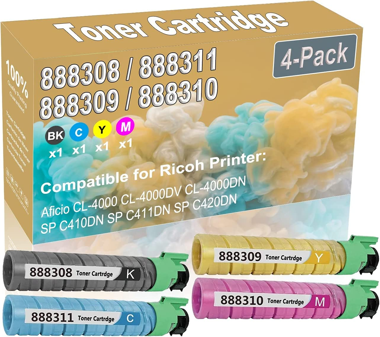 4-Pack (BK+C+Y+M) Compatible Aficio CL-4000 CL-4000DV CL-4000DN Laser Toner Cartridge (High Capacity) Replacement for Ricoh 888308 888311 888309 888310 Printer Toner Cartridge