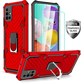 Samsung Galaxy A51 Case with [2 x Tempered Glass Screen Protector] [ Military Grade ] 15Ft. Drop Tested Armor Protective P...