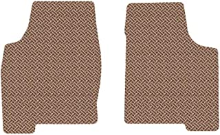 Brightt (MAT-GLB-972) 2 Pc Front Floor Mats - Tan All-Weather Rubber Weave Pattern - compatible with 2015-2016 Corvette Z06 Convertible (2015 2016   15 16)