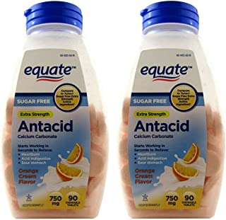 Equate Antacid Orange Cream Flavor, Sugar-Free 180 Chewable Tablets, 750 Milligram, 2 Bottles Of 90 Tablets