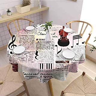 DILITECK Beach Round Tablecloth Old Newspaper Decor Classical Music Theme Instruments Piano Violin Notes Symbols Fringe Tablecloth Diameter 54 inch Ruby Light Pink Black