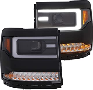 ANZO USA 111375 Projector Headlight Set w/Plank Style Switch Back w/Amber Sequential Turn Signal