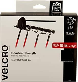 "VELCRO Brand 90197 - Industrial Strength Fasteners - Heavy Duty Stick On, 2"" x 15 ft. Roll, Black"