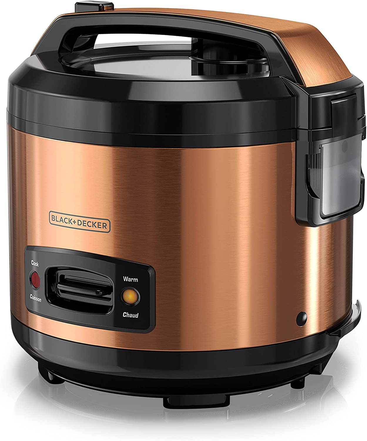 BLACK+DECKER 14-Cup Rice Cooker with Locking Lid, Copper, RC1014CD