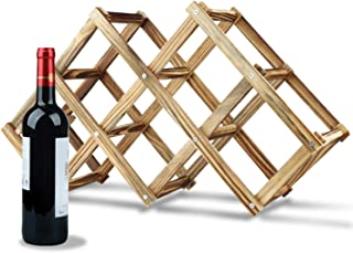 HASAGEI Wine Rack Countertop Wooden Assembled Wine Holders Stands for Counter Wine Display Shelf for 3/6/10 Bottles Storag...