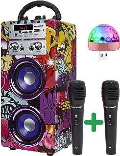 DYNASONIC (3er Gen) - Draagbare Karaoke Bluetooth-luidspreker met microfoon inbegrepen | USB en SD-lezer, FM-radio Model 0...