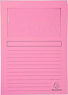 Exacompta - Ref. 50156E - Paquet de 100 chemises à fenêtre SUPER 160g/m2 - 22x31cm. - Rose