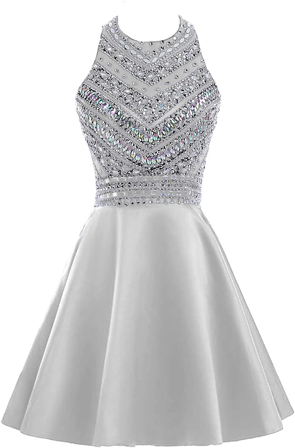 HEIMO Women's Sparkly Beaded Homecoming Dresses Sequins Cocktail Gown for Teens Prom Dress Short H212