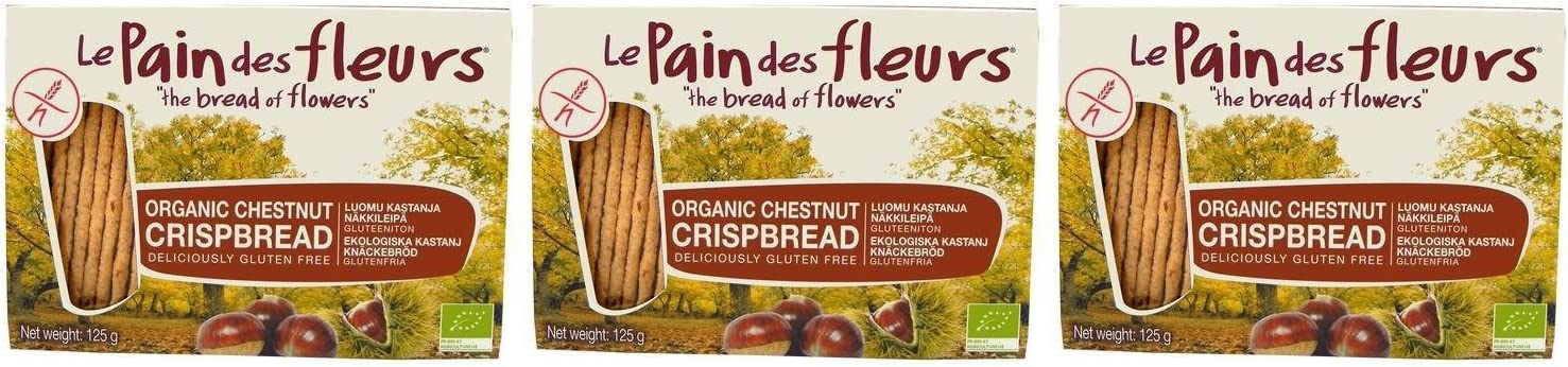 3 PACK - Le Inventory cleanup selling sale Pain des 125g Fleurs Chestnut High quality new Crispbread Org