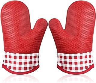 Manopla Horno Silicona para Cocina, Oven Gloves Antideslizante Guantes de Cocina Guantes Horno Dobles Resistente al Calor Guantes Cocina Profesional Manopla Doble Horno Guante de Cocina 1 Par (Rojo)