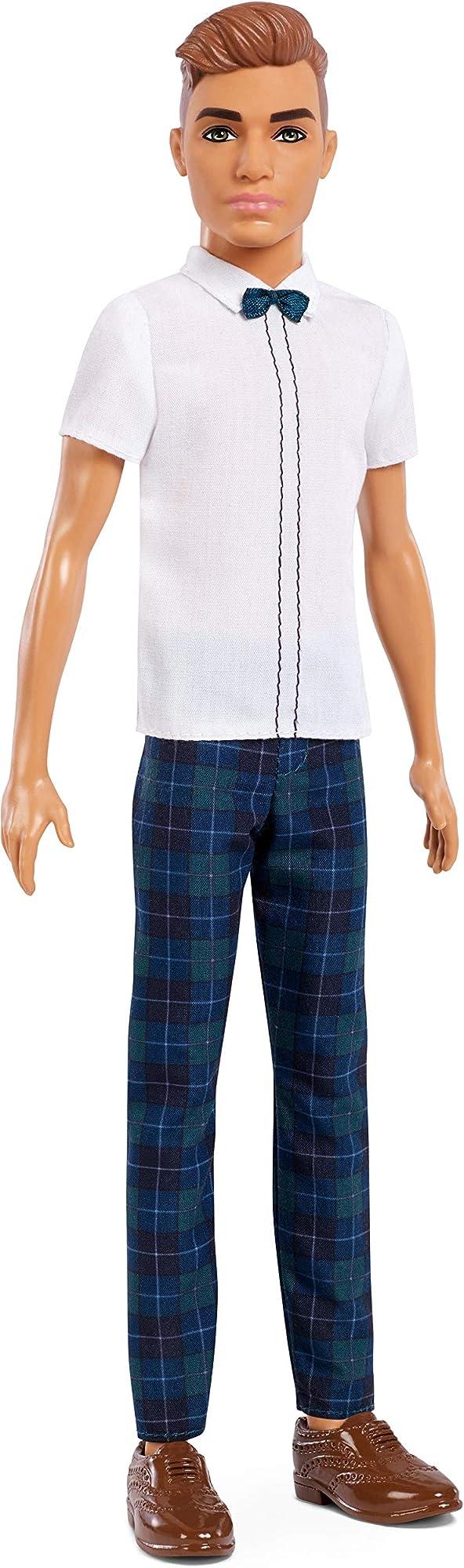 Barbie, ken con camicia bianca e pantaloni con stampa a quadri casual FXL64