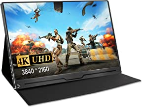 """UPERFECT 4K Computer Monitor 15.6"""" Gaming Display Portable USB C Monitors 3840 x 2160 UHD with Stand Smart Case Eye Care Screen IPS Speakers OTG VESA HDMI Type-C Mini DP PD Xbox Rpi Drone Win PC Mac"""