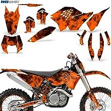 Wholesale Decals MX Dirt Bike Graphic Kit Sticker Decals Compatible with KTM SX XCR-W XCF-W EXC XC-W 2007-2011 - Flames Orange