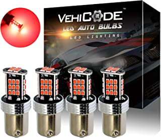 VehiCode Super Bright 1200 Lumens 1156 (7506/1141/1003/1073/BA15S/P21W) LED Light Bulb (Red) Kit - Replacement for Tail, Brake Stop Lights (4 Pack)