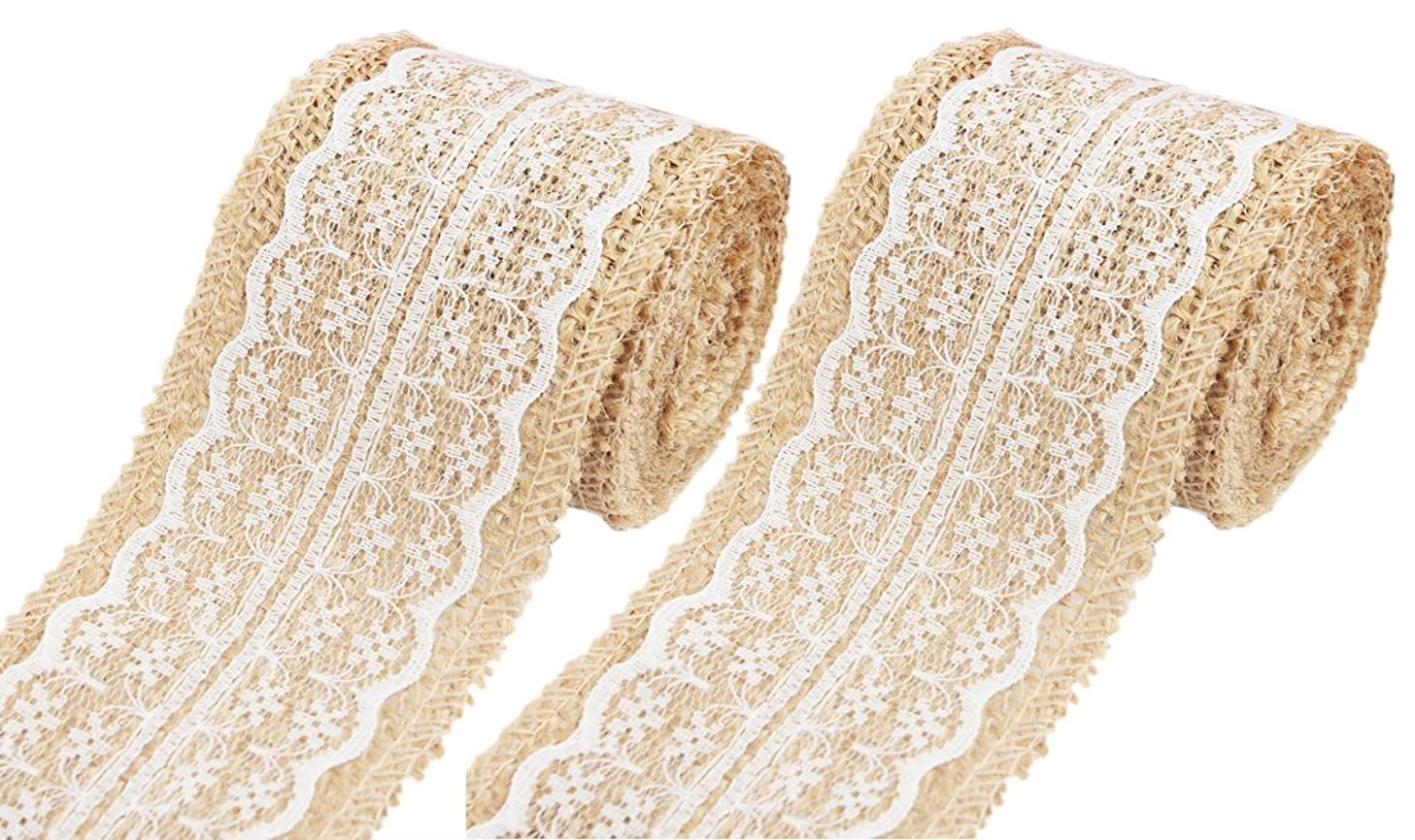 Burlap Ribbon for Crafts, Lace Ribbon, Floral Rustic Ribbon-HipGirl White Lace Trims Burlap Tape Jute Natural Ribbon, Burlap Roll with Lace-for Rustic Wedding Decorations. 156in,2.36