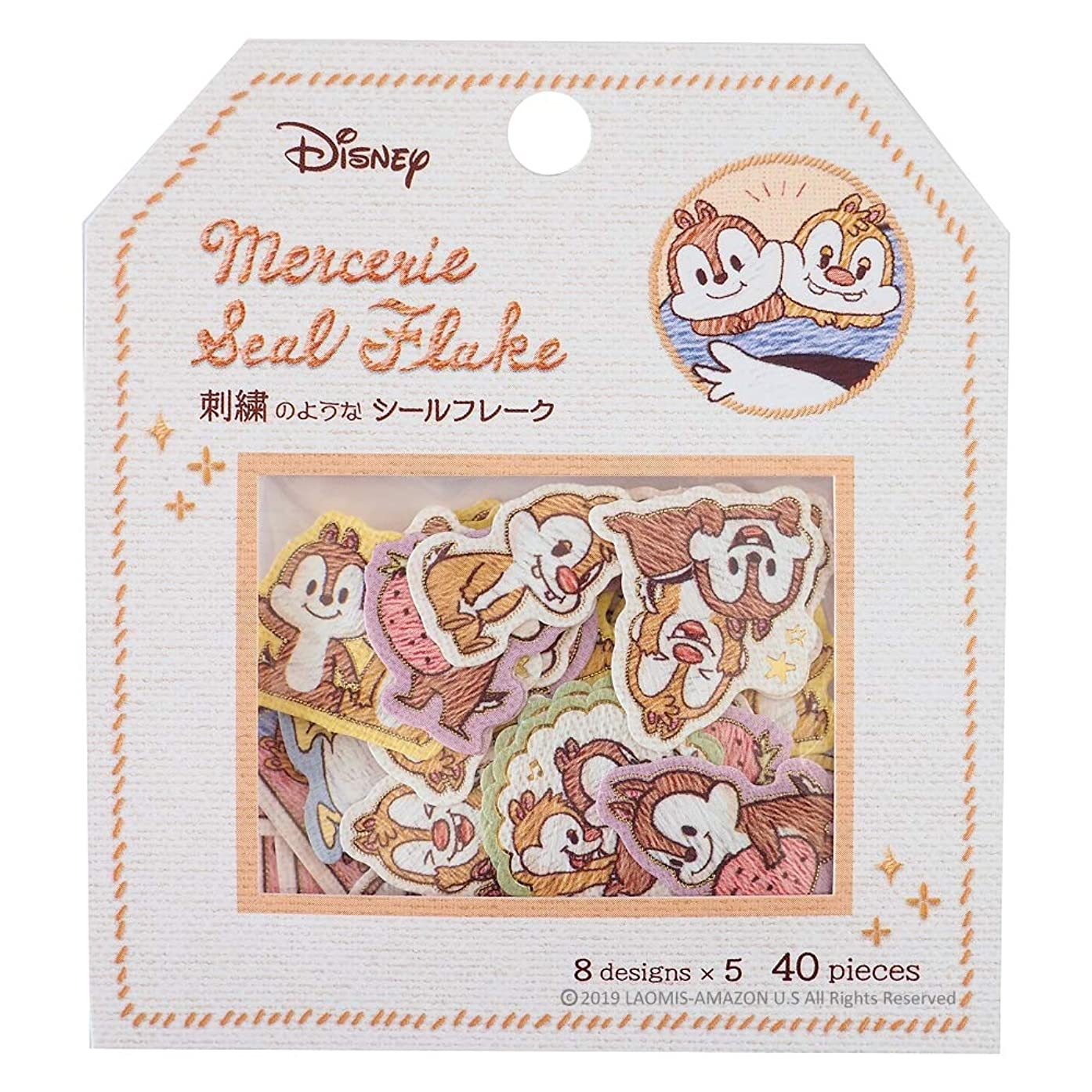 Japanese Mercerie Embroidered Patch Style Flake Seal Stickers/Pack of 40 (Chip & Dale [ 09211 ])