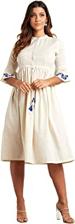 Embroidered Detail 3/4 Sleeves Midi Dress For Women with Tassel Drawstring Waist