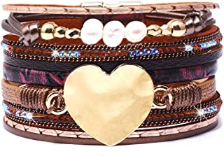 DESIMTION Womens Boho Wrap Leather Multilayer Wide Heart Bracelets Jewelry for Women Teen Girl Boy