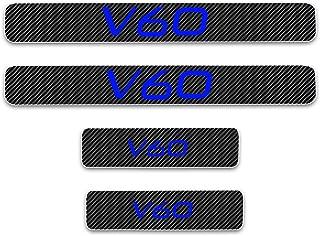 for Volvo V60 Door Sill Protector Reflective 4D Carbon Fiber Sticker Door Entry Guard Door Sill Scuff Plate Stickers Auto Accessories 4Pcs Blue